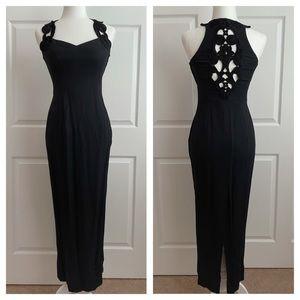 Gunne Sax Black Brocade Evening Gown Prom Dress